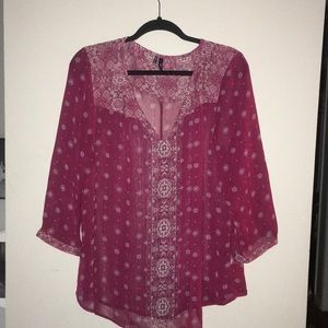 Maurices Maroon Boho Print Perfect Blouse